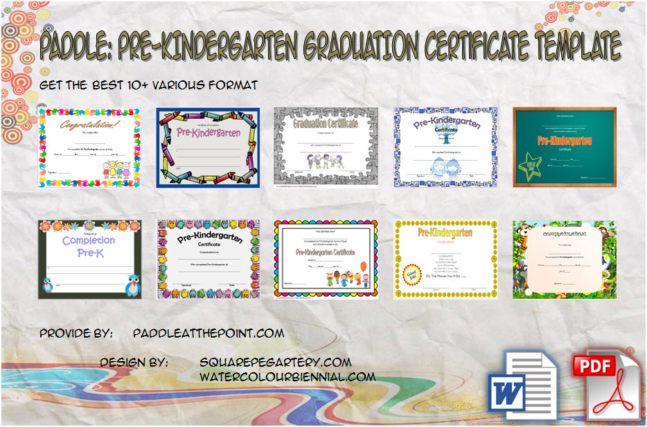 Download 10+ Template Ideas of Editable Pre K Graduation Certificates for kindergarten completion, pre-k, end of the year with PDF and Microsoft Word formats!