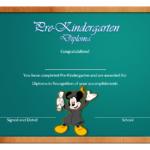 Pre Kindergarten Diploma Certificate