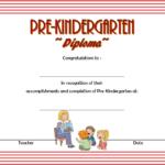 Pre Kindergarten Diploma Certificate 5