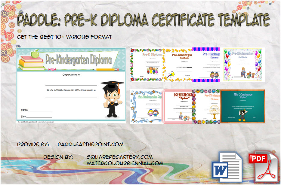 Get 10+ Great Ideas of Pre K Diploma Certificate Editable Templates for pre-kindergarten student, graduation, completion, pre-primary, teacher training free!