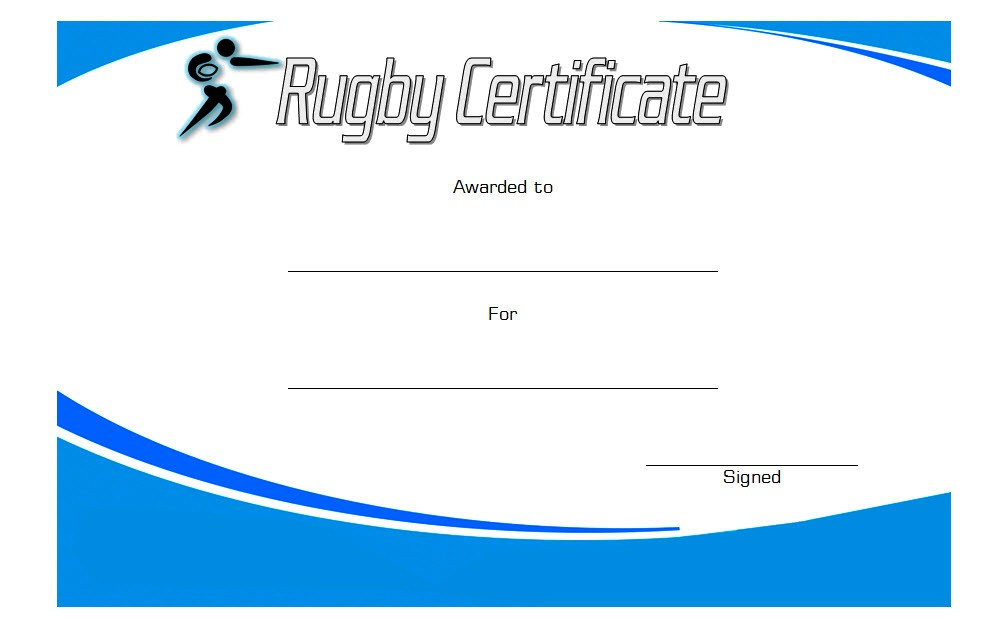 Rugby Certificate Template 3