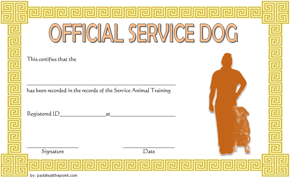 picture relating to Free Printable Service Dog Id Card Template identified as Assistance Pet dog Certification Template 4 Paddle At The Position