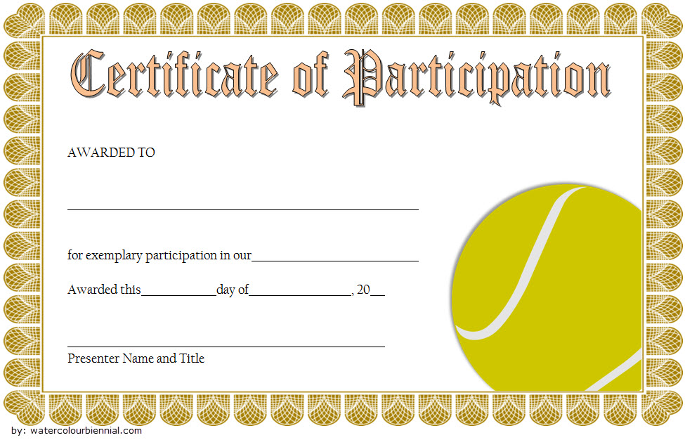 Tennis Participation Certificate Template 7