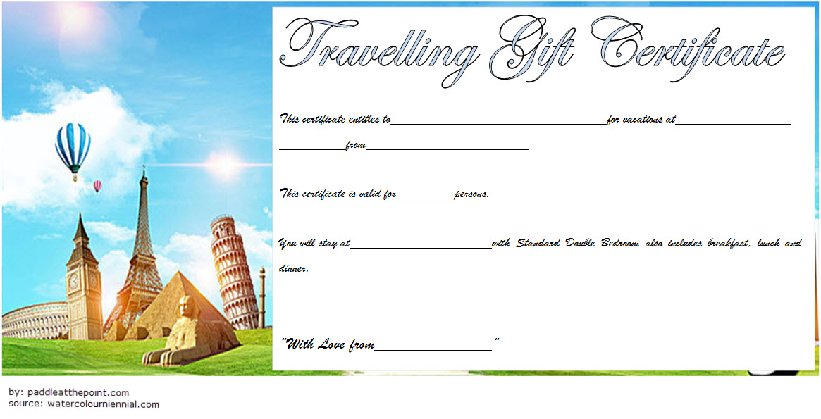 Travel Gift Certificate Template 8 Paddle At The Point