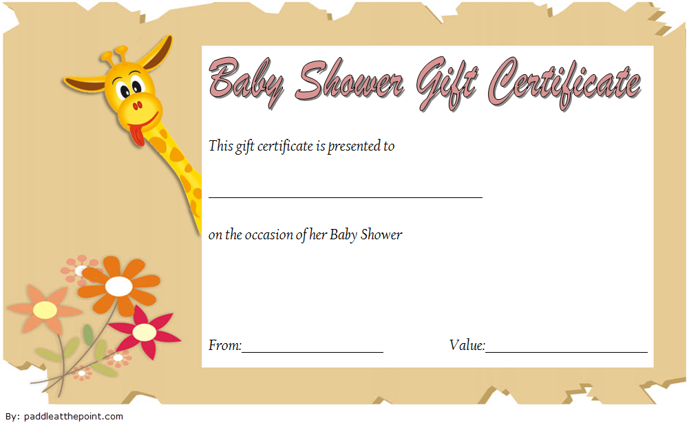 Baby Shower Gift Certificate Template 1
