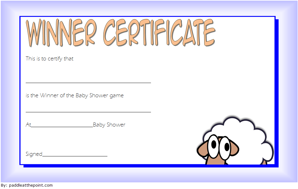 Baby Shower Certificate Template Winner Templates Certificates