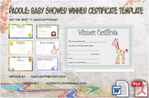 Baby Shower Game Winner Certificate Templates