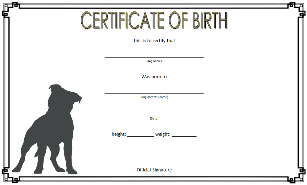 Dog Birth Certificate Template 3