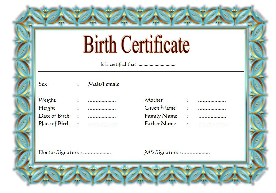 Official Birth Certificate Template 2
