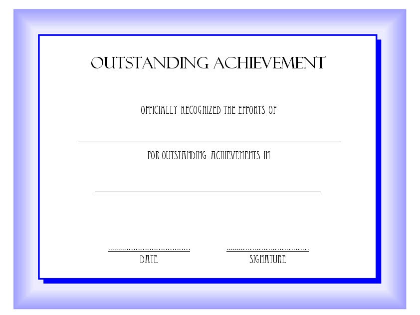 Outstanding Achievement Certificate Template 6