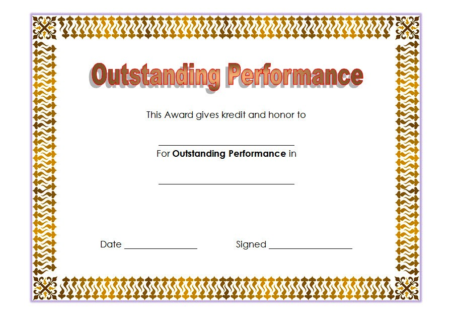 Outstanding Performance Template 4