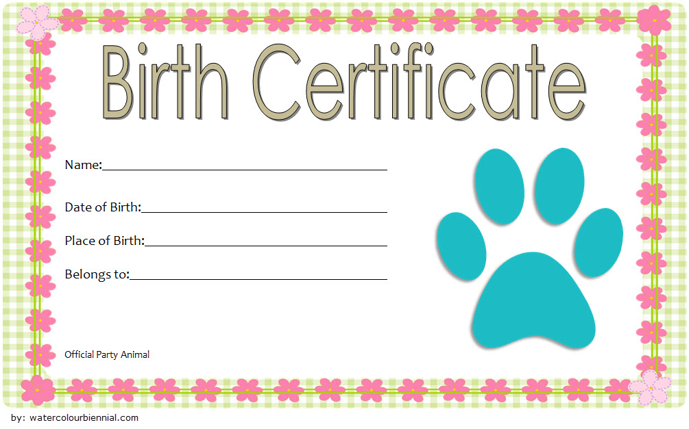 Stuffed Animal Birth Certificate Template 2