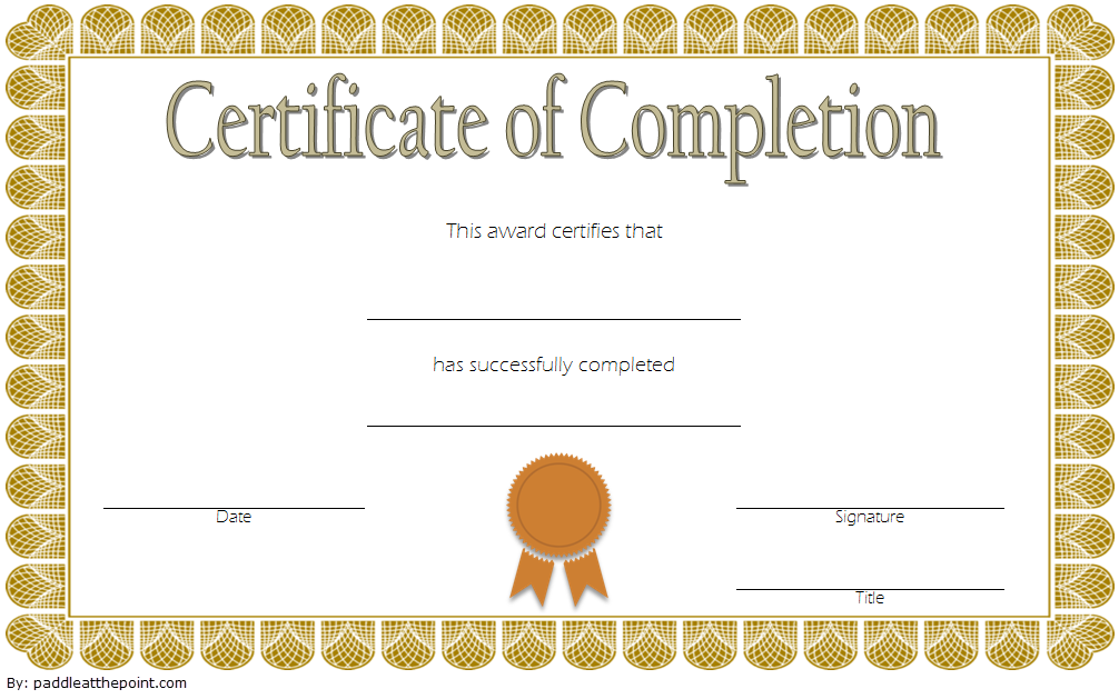 Training Completion Certificate Template 3 Paddle At The Point