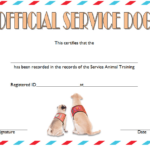 Training Completion Certificate Template For Dog Service 1