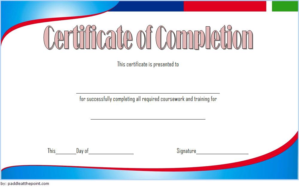 Training Course Completion Certificate Template 1 Paddle At The Point