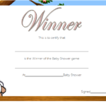 Baby Shower Winner Certificate Template 1