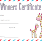 Baby Shower Winner Certificate Template 3