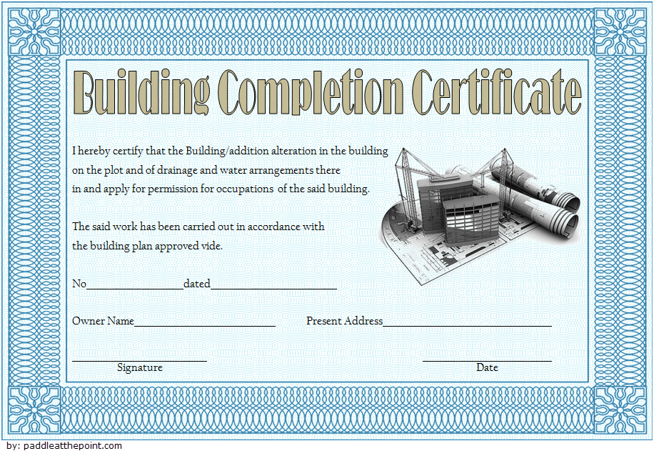 Certificate Of Construction Completion Template 10
