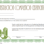 Certificate Of Construction Completion Template 2