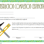 Certificate Of Construction Completion Template 3