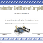 Certificate of Construction Completion Template