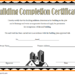 Certificate Of Construction Completion Template 8