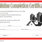 Certificate Of Construction Completion Template 9