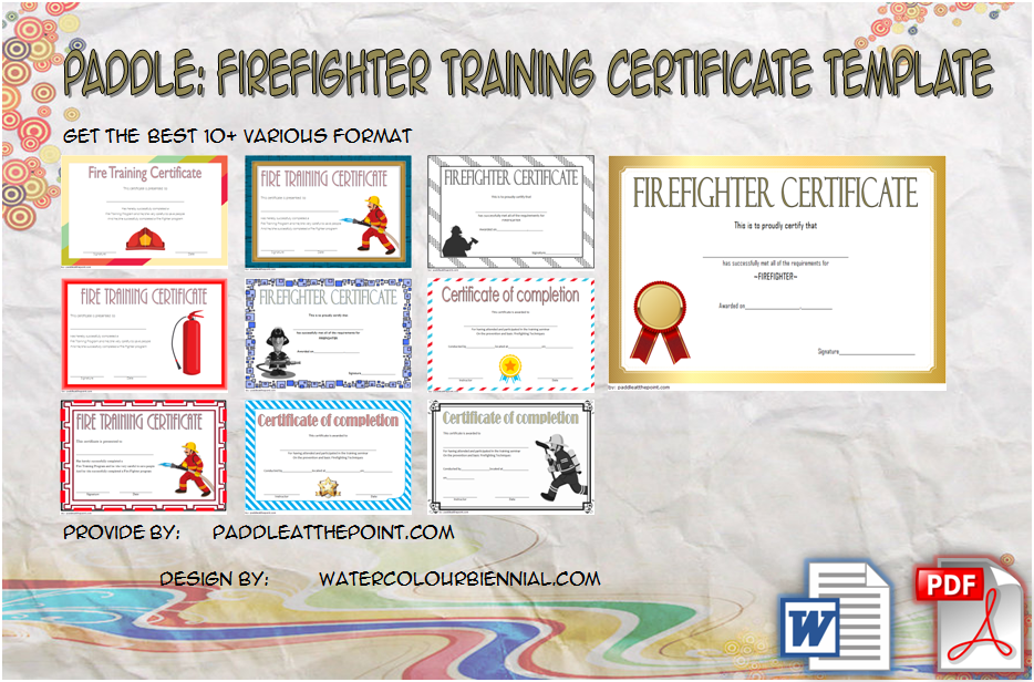 Fire Fighter Training Certificate Template By Paddle