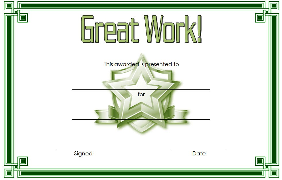 Great Work Certificate Template 2