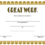 Great Work Certificate Template – 10+ Outstanding Designs