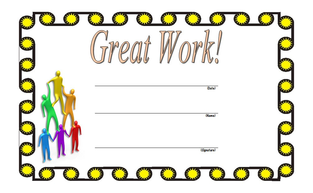 great work certificate template, outstanding work certificate template, good work certificate template, appreciation certificate for good work, great job certificate templates word