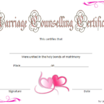 Marriage Counseling Certificate Template: 7+ Premium Designs