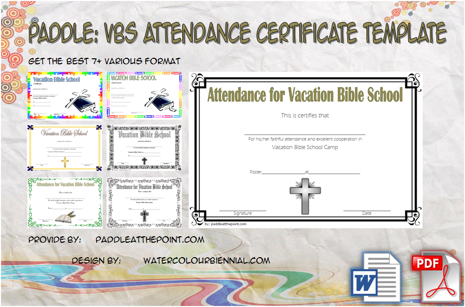 VBS Attendance Certificate Template By Paddleatthepoint.com
