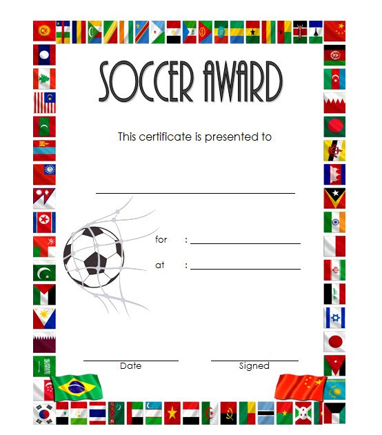 photograph regarding Printable Soccer Certificates named Football Certification Template 5 Paddle At The Issue