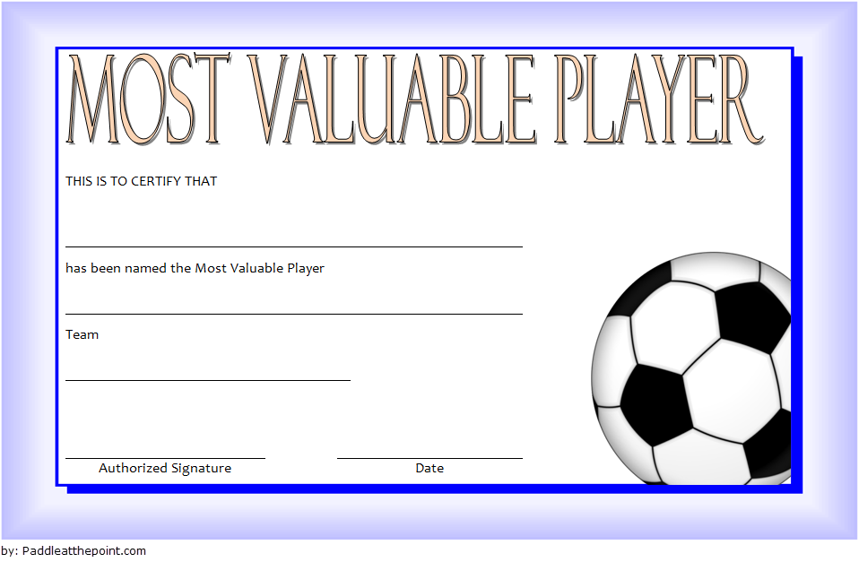 graphic relating to Printable Soccer Certificates called Football MVP Certification Template 6 Paddle At The Fact