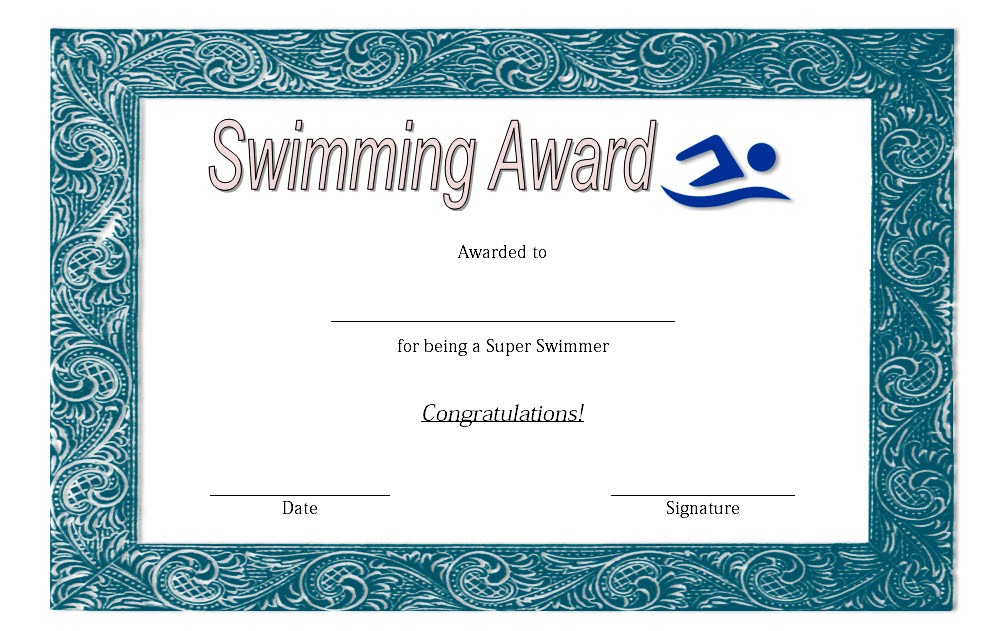 Swimming Certificate Template 3