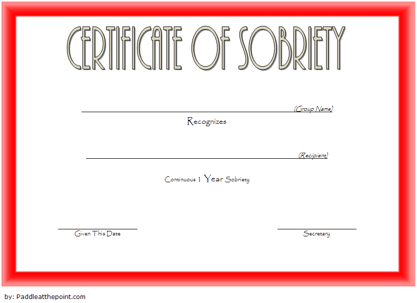 Certificate Of Sobriety Template 1