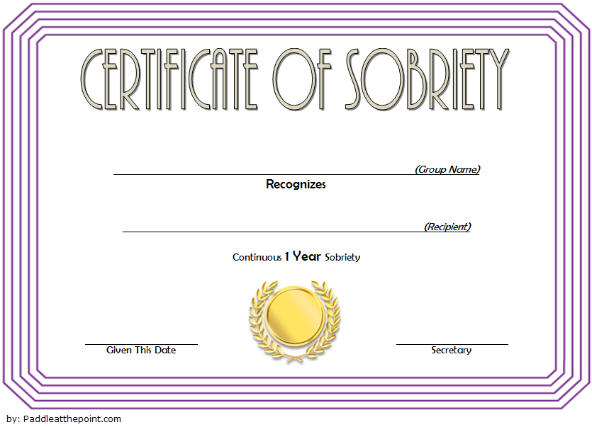 Certificate Of Sobriety Template 2