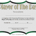 Player Of The Day Certificate Template 3