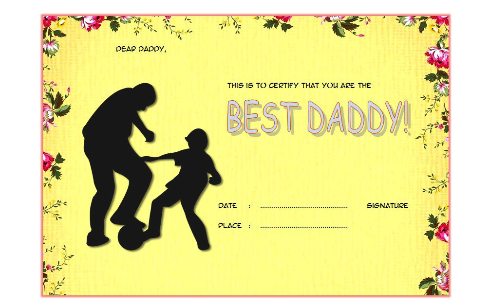 Best Dad Certificate Template 4