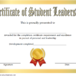 Excellence Student Leadership Certificate Template 2
