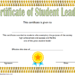 Great Student Leadership Certificate Template 3