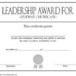Student Leadership Award Certificate Template