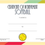 Softball Achievement Certificate Template 1