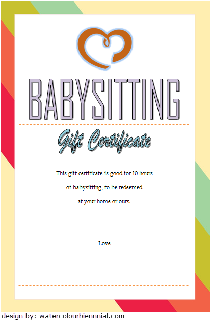 Babysitting Gift Certificate Template 7 FREE