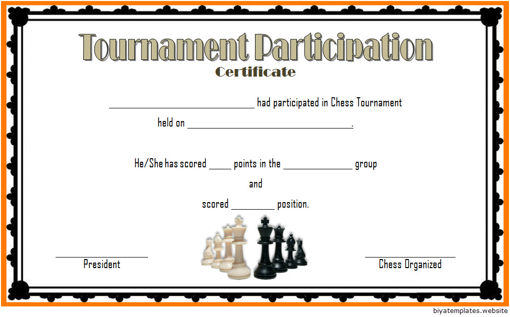 Chess Tournament Participation Certificate Template FREE 1
