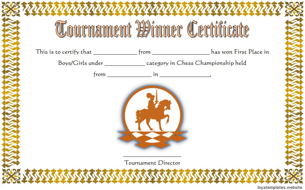 Chess Tournament Winner Certificate Template FREE 2