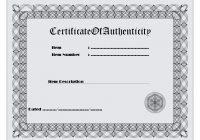 Authenticity Certificate Template 1