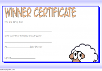 Baby Shower Winner Certificate Template 2