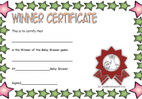 Baby Shower Winner Certificate Template 5